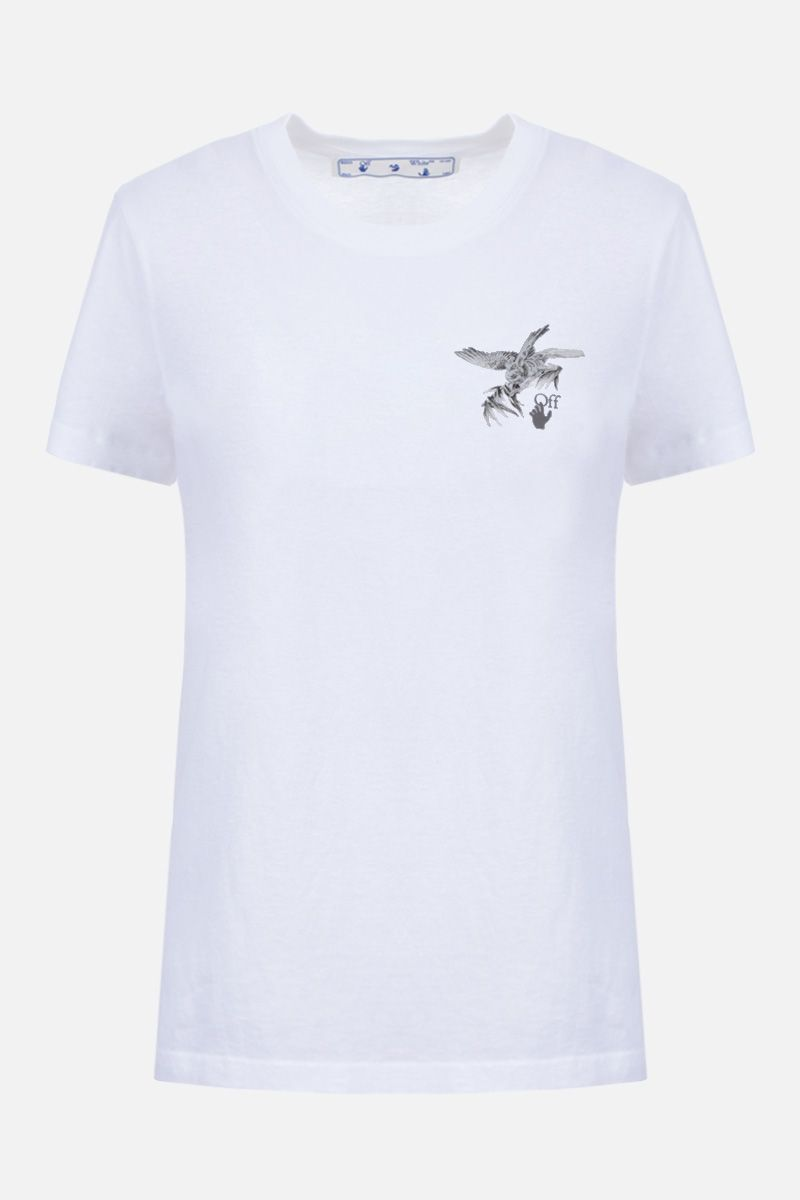 OFF WHITE: Birds Reflective cotton t-shirt Color Multicolor_1