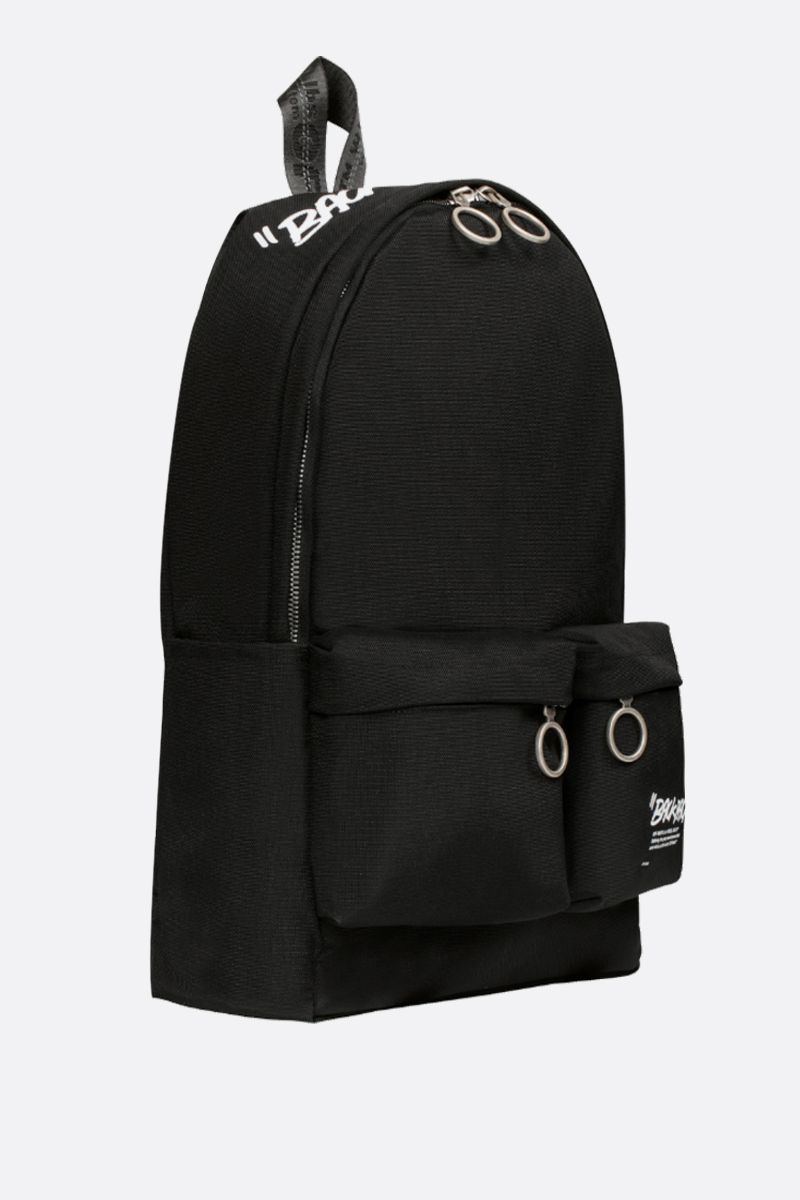 OFF WHITE: Quote nylon backpack Color Black_2
