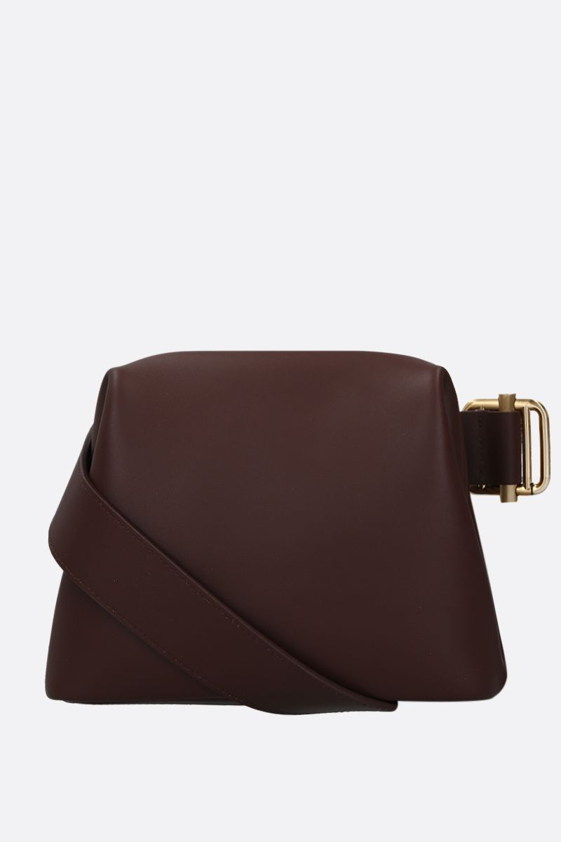 OSOI: Brot mini smooth leather crossbody bag Color Brown_1