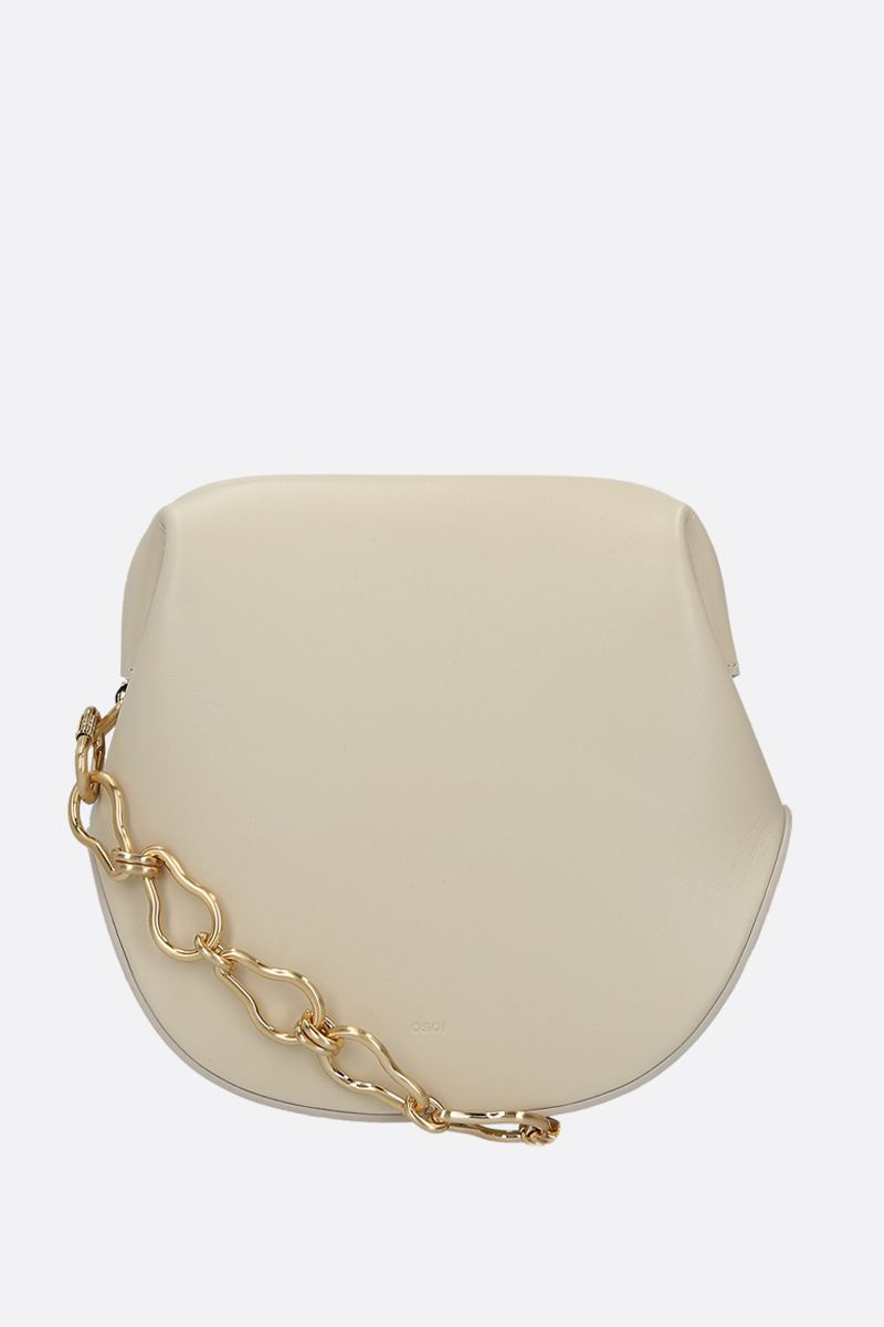 OSOI: Toast Brot smooth leather shoulder bag Color White_1