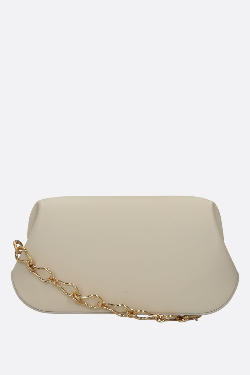 OSOI: Dutch Brot smooth leather shoulder bag Color White_1