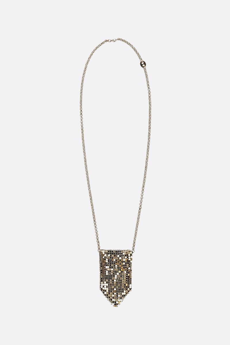 PACO RABANNE: pendant-detailed metal mesh chain necklace Color Gold_1