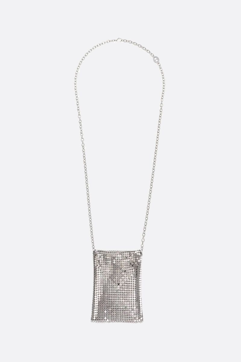 PACO RABANNE: metal mesh pendant-detailed chain necklace Color Silver_1