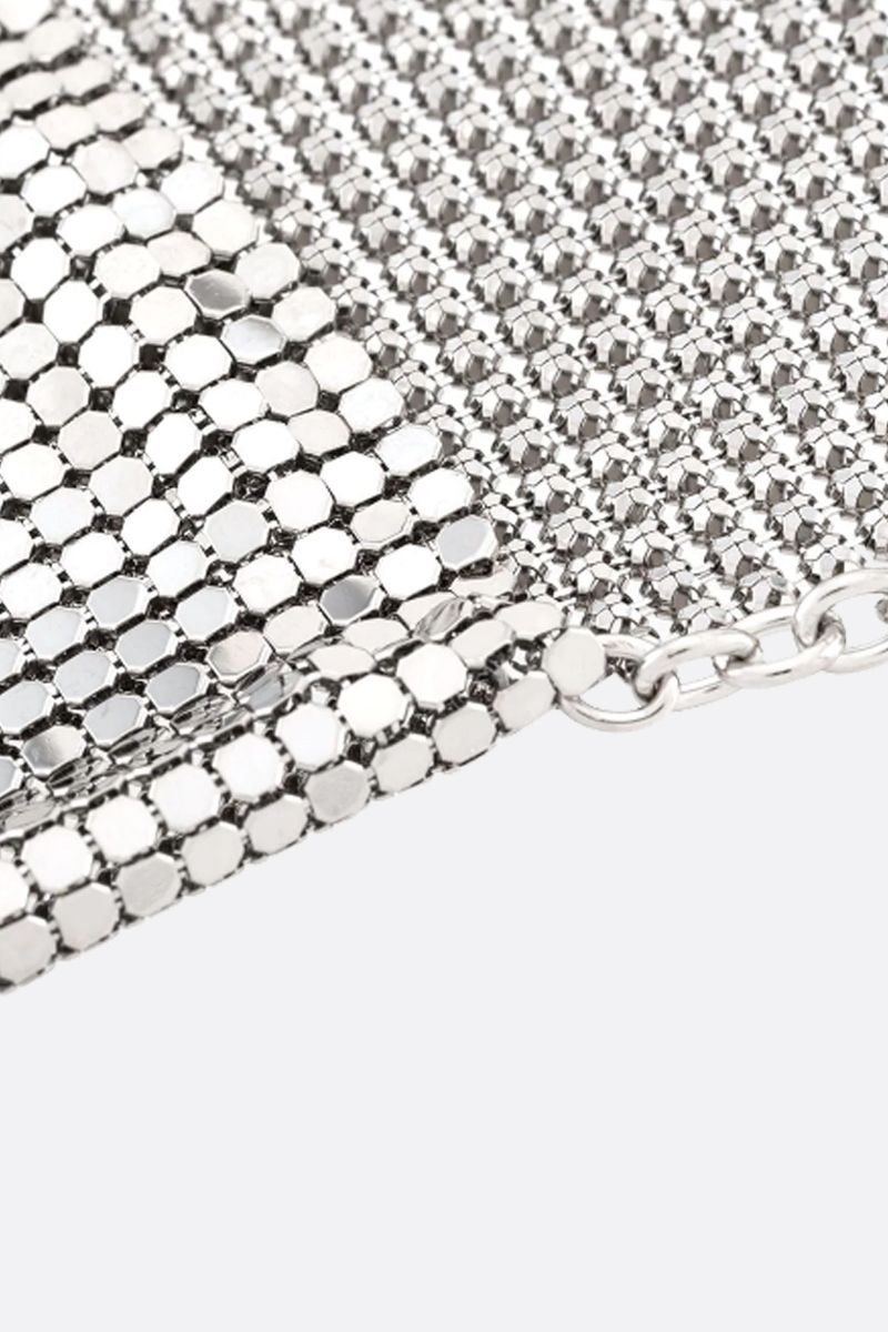 PACO RABANNE: metal mesh pendant-detailed chain necklace Color Silver_2