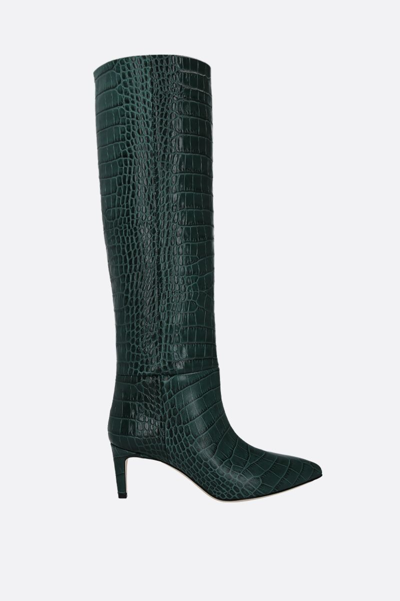 PARIS TEXAS: crocodile embossed leather boots Color Green_1