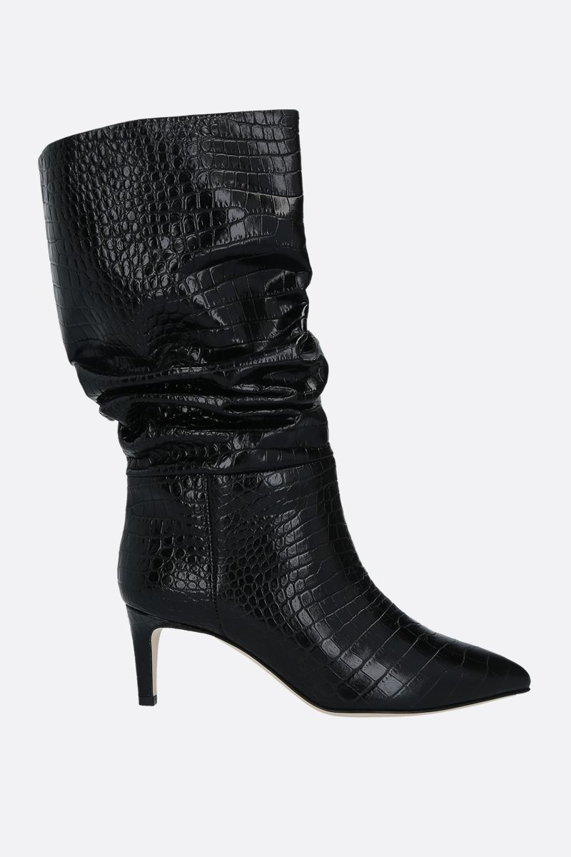PARIS TEXAS: crocodile embossed leather boots Color Black_1