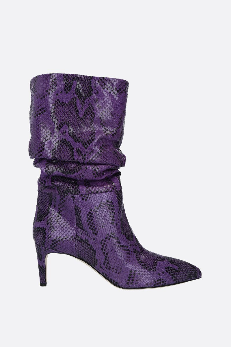 PARIS TEXAS: python-embossed leather boots Color Purple_1