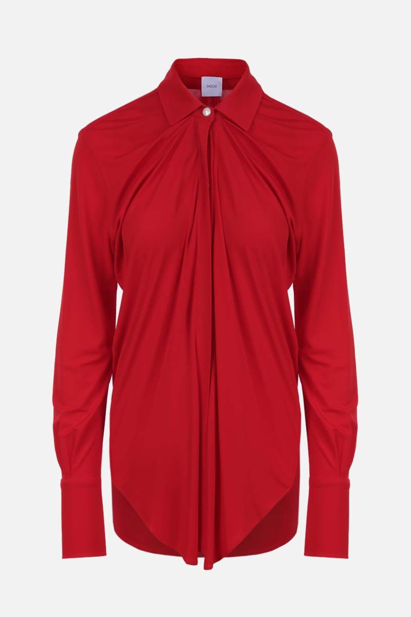 PATOU: jersey draped shirt Color Red_1