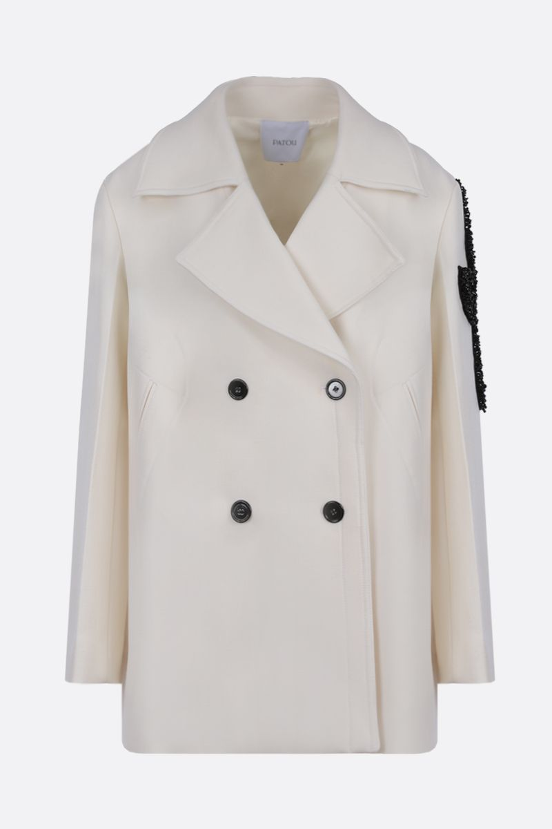 PATOU: logo patch wool double-breasted coat Color White_1