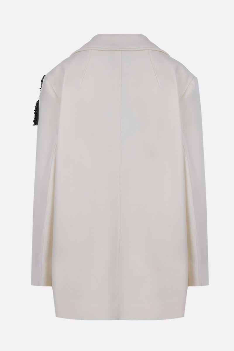 PATOU: logo patch wool double-breasted coat Color White_2