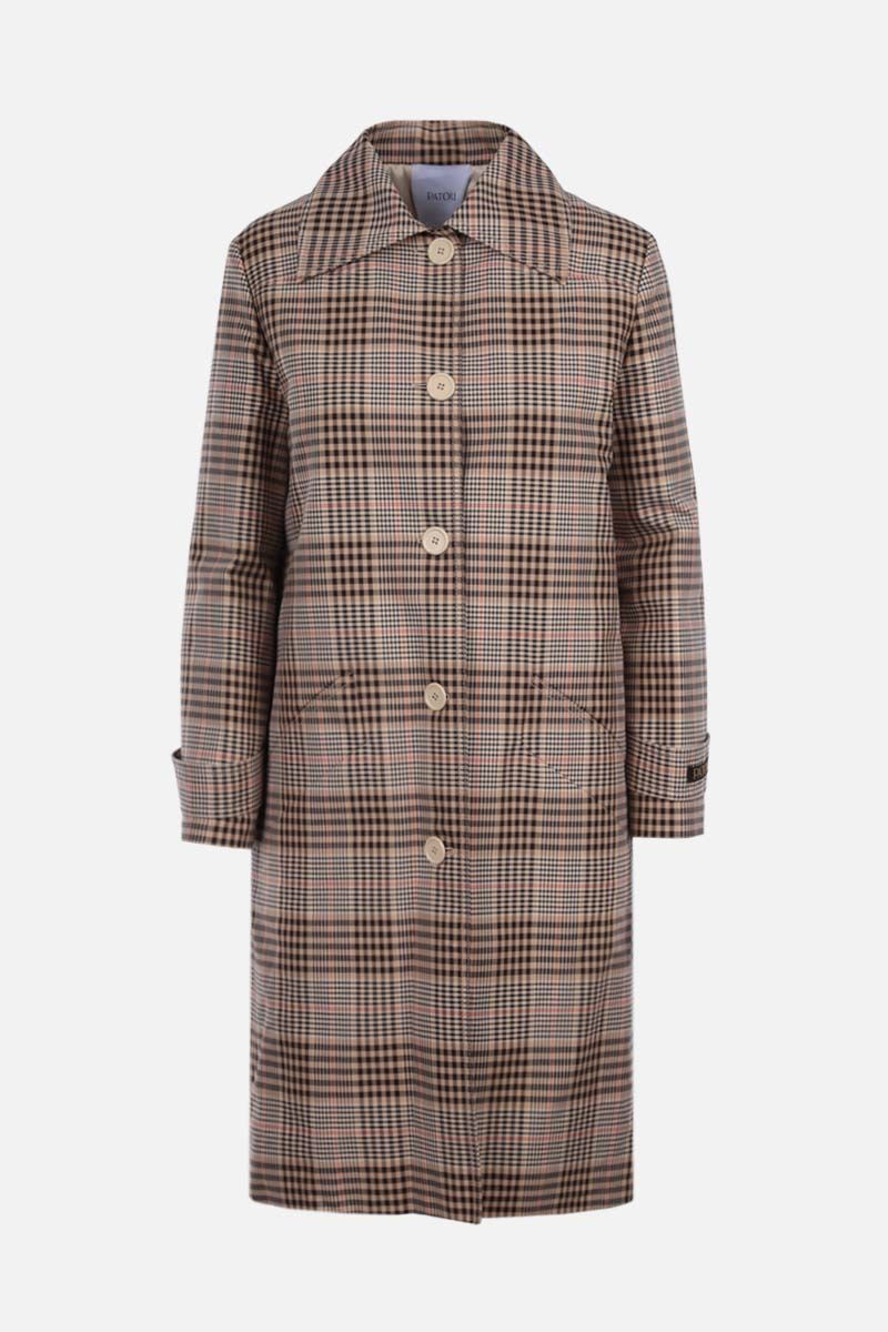 PATOU: check cotton single-breasted coat Color Multicolor_1