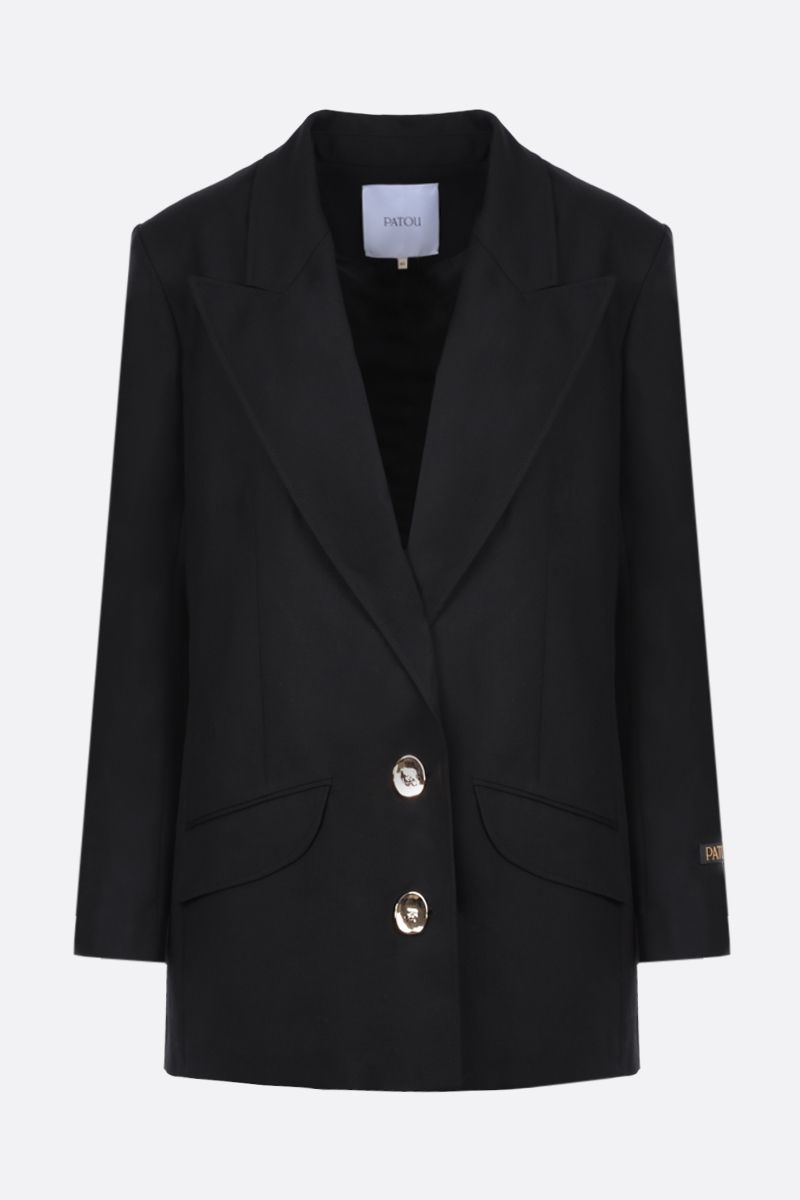 PATOU: logo-detailed wool single-breasted jacket Color Black_1