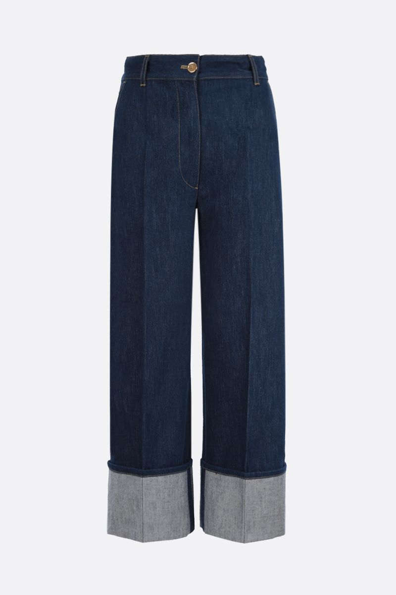 PATOU: turn-up-detailed cropped jeans Color Blue_1