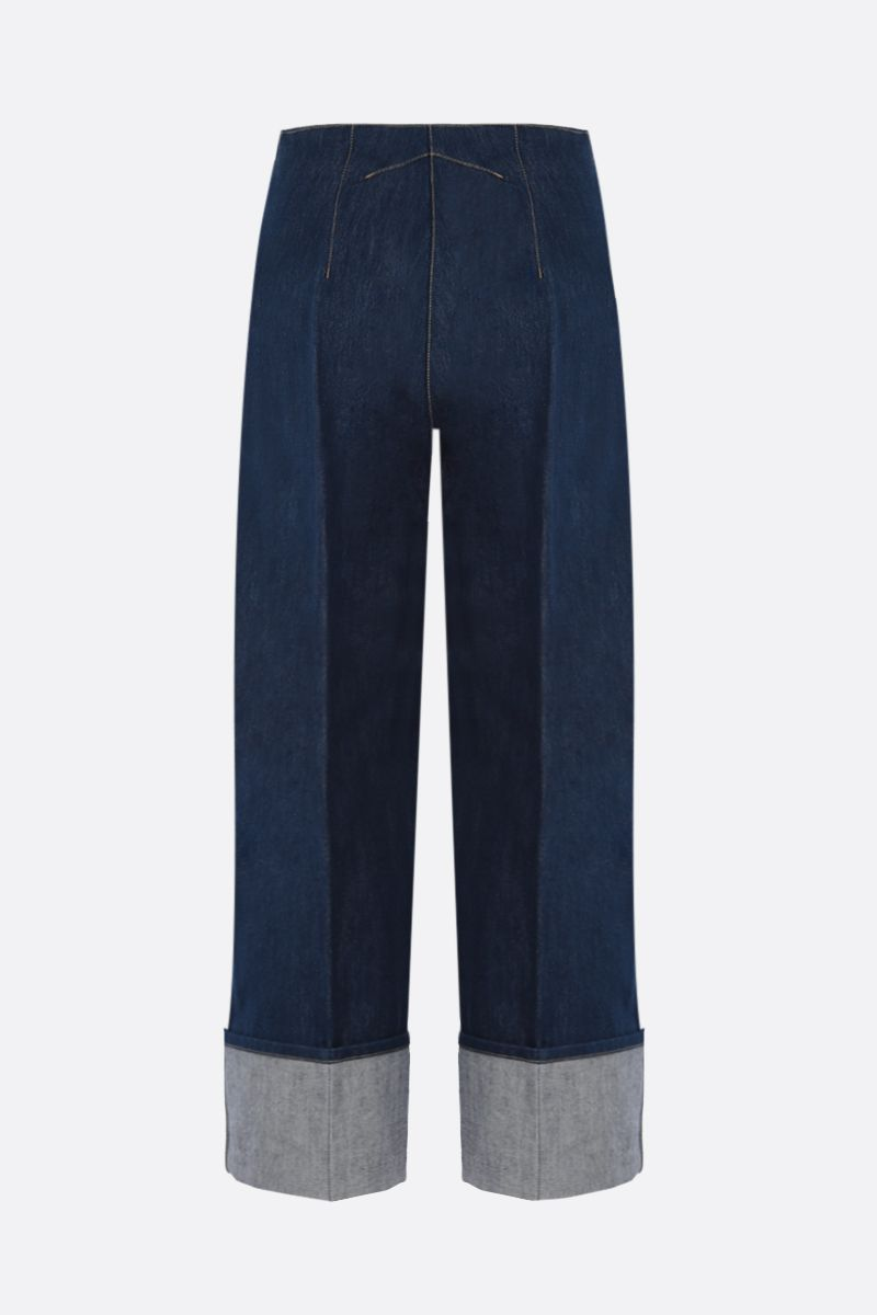 PATOU: turn-up-detailed cropped jeans Color Blue_2