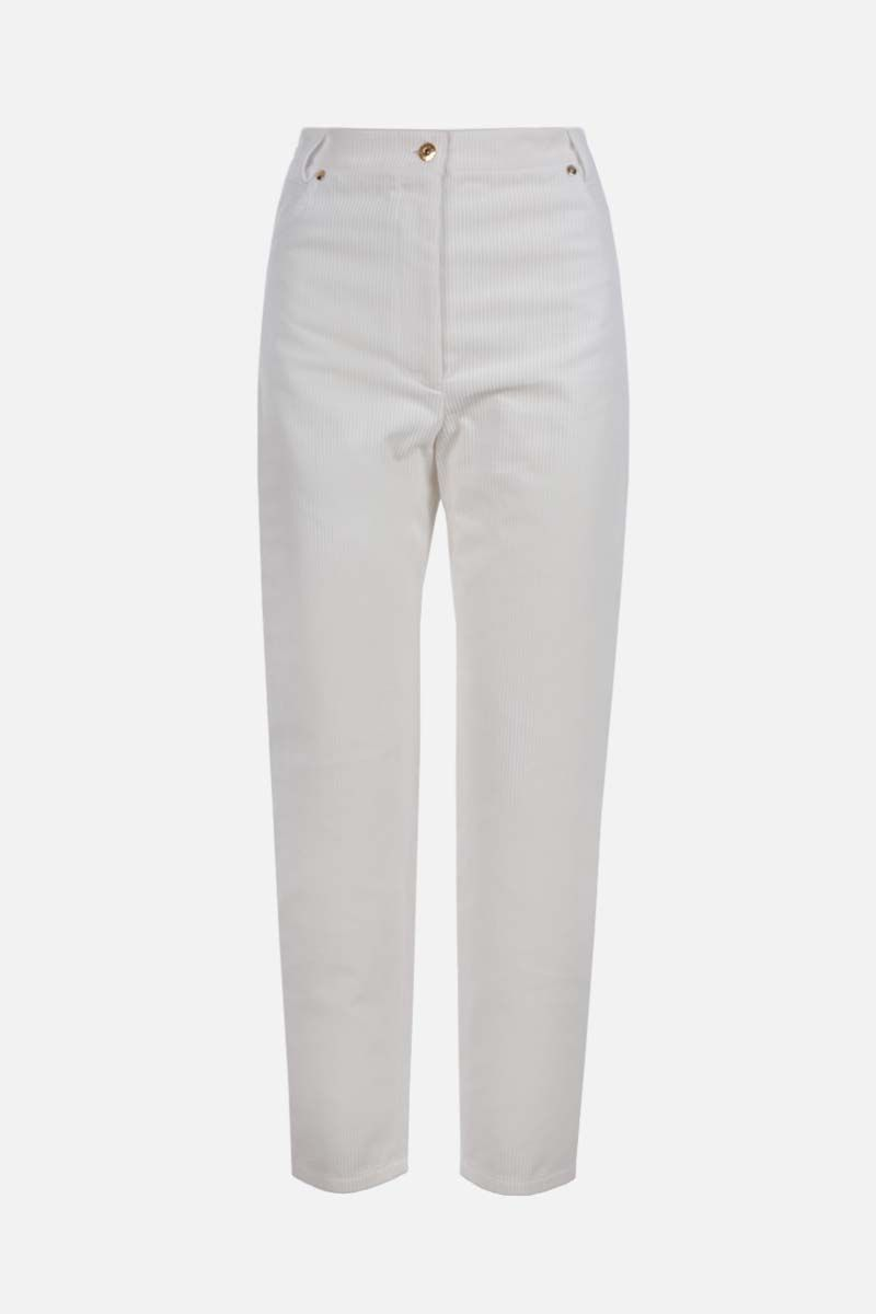 PATOU: baggy-fit ribbed velvet pants Color White_1