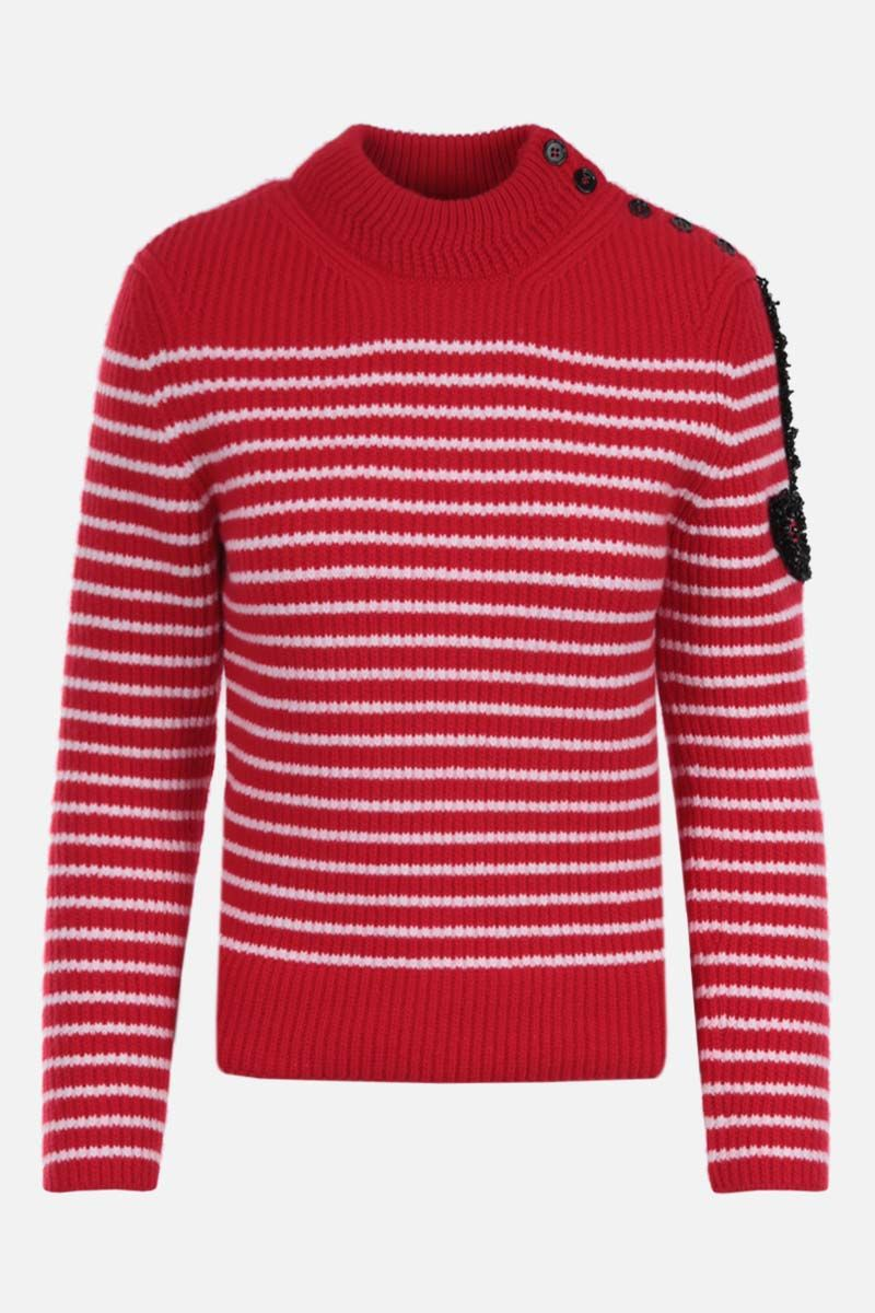 PATOU: logo patch striped wool pullover Color Red_1