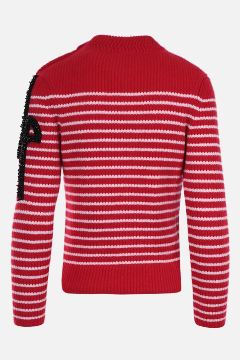 PATOU: logo patch striped wool pullover Color Red_2