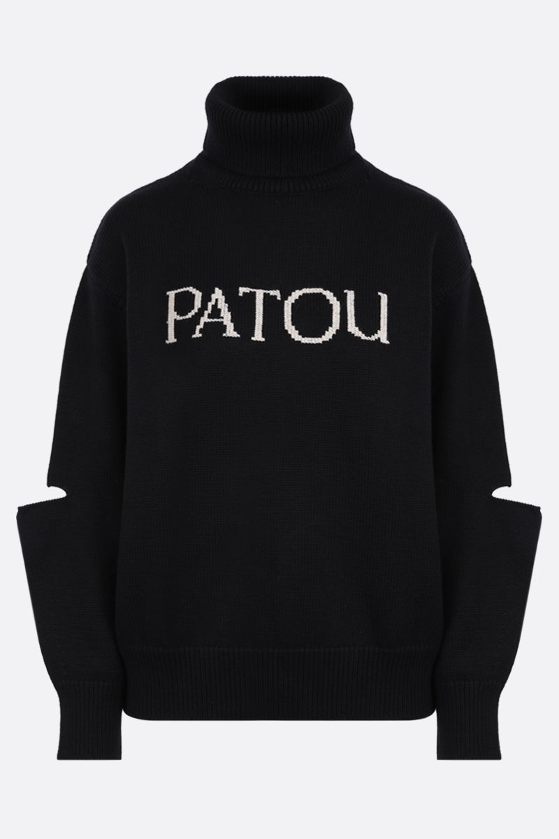 PATOU: Patou embroidered wool turtleneck Color Black_1