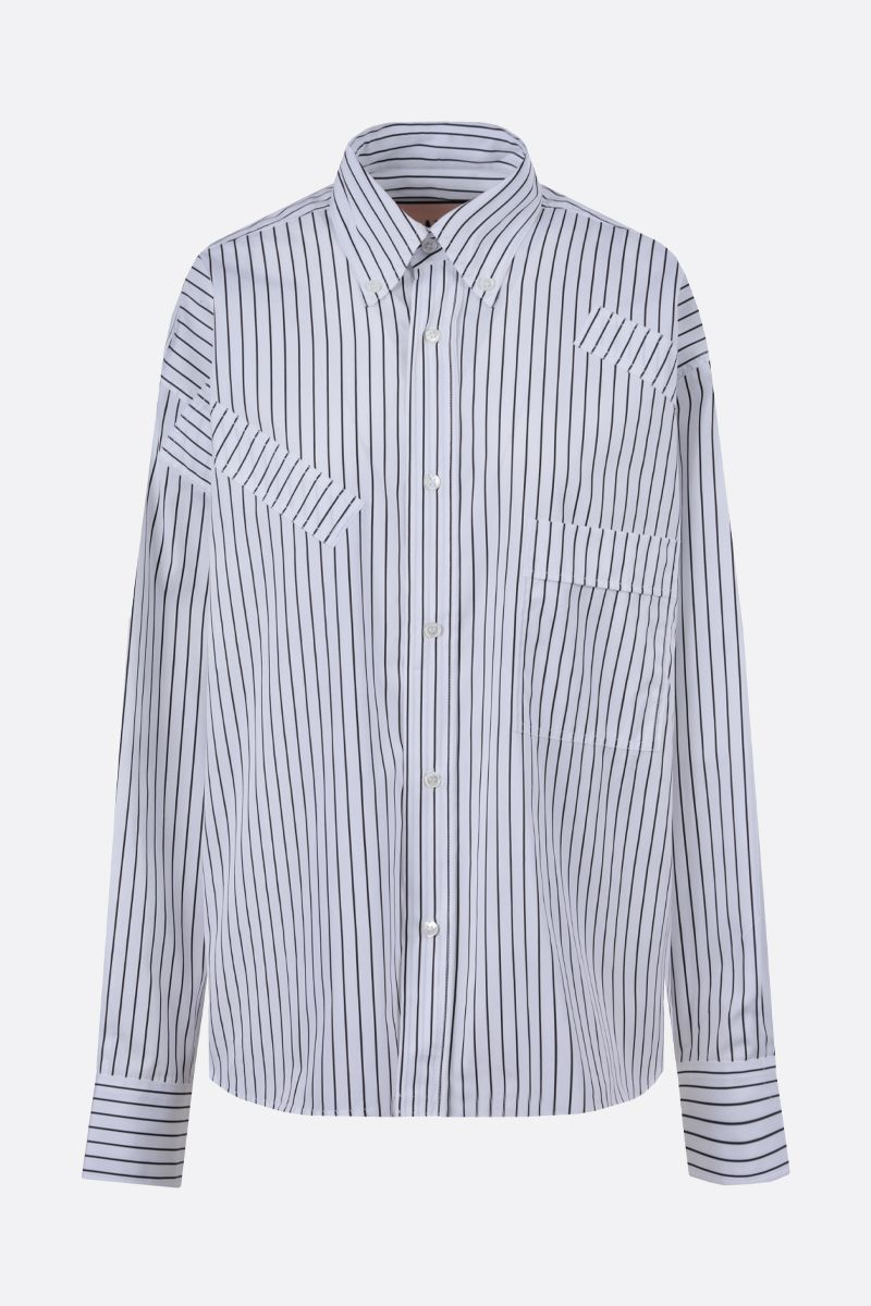 PLAN C: oversize striped cotton shirt Color White_1