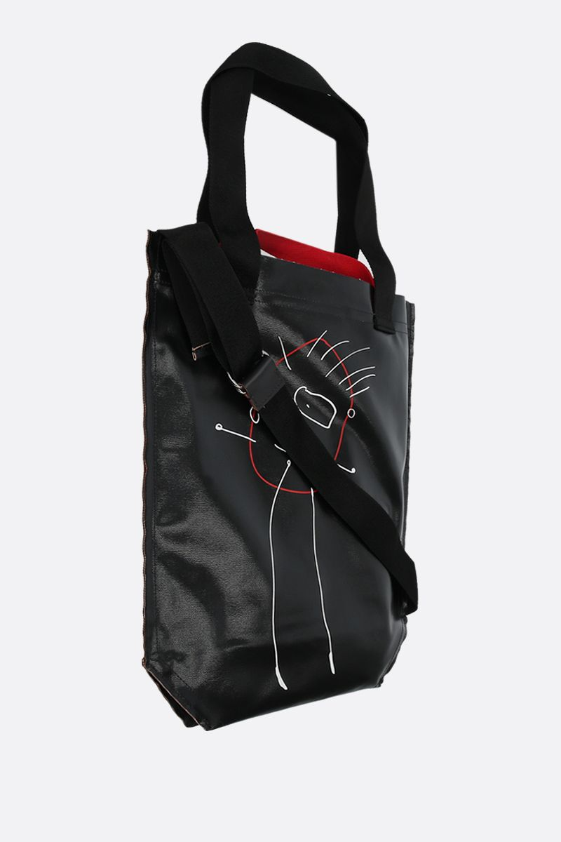 PLAN C: coated canvas medium shopping bag Color Black_2