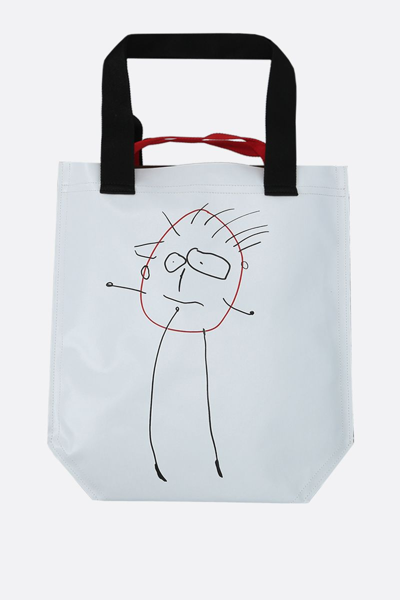 PLAN C: coated canvas medium shopping bag Color White_1