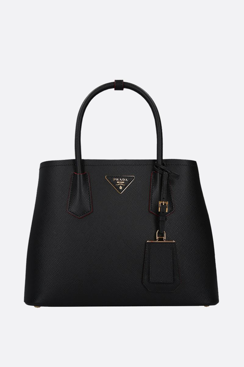 PRADA: borsa a mano Prada Double small in pelle Saffiano Colore Nero_1