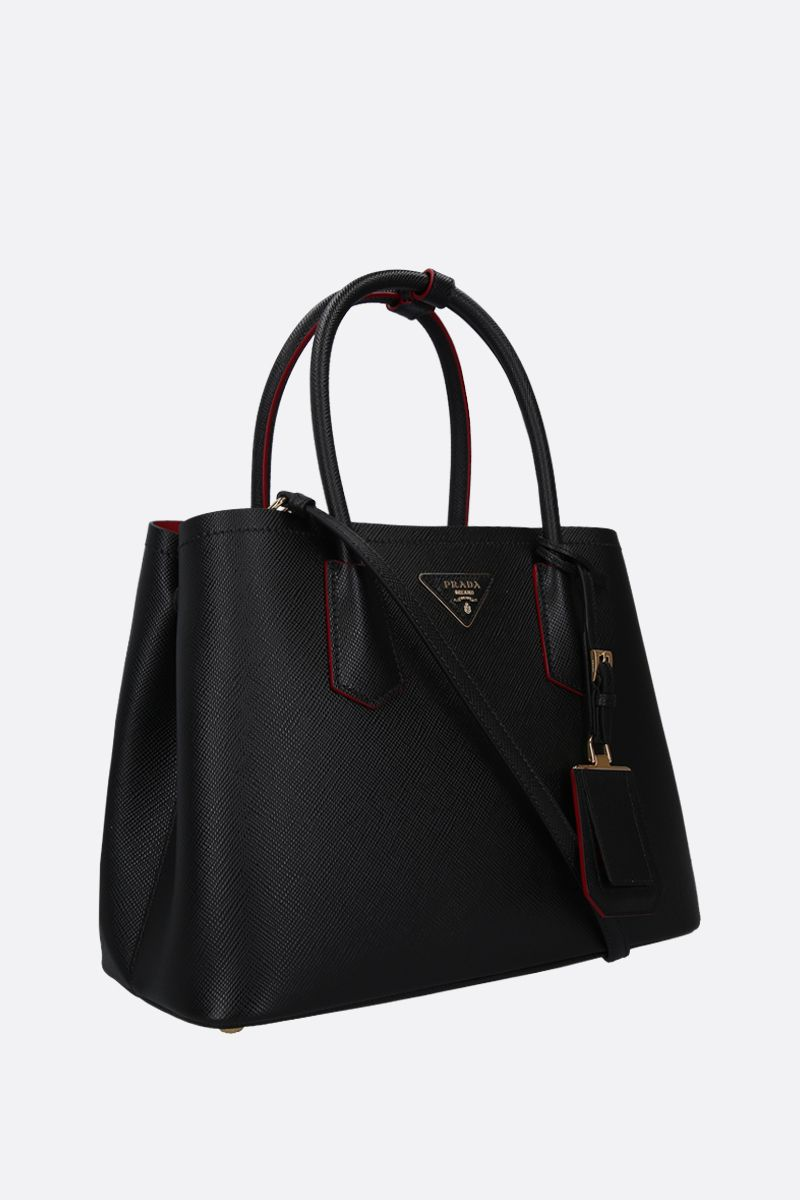 PRADA: borsa a mano Prada Double small in pelle Saffiano Colore Nero_2