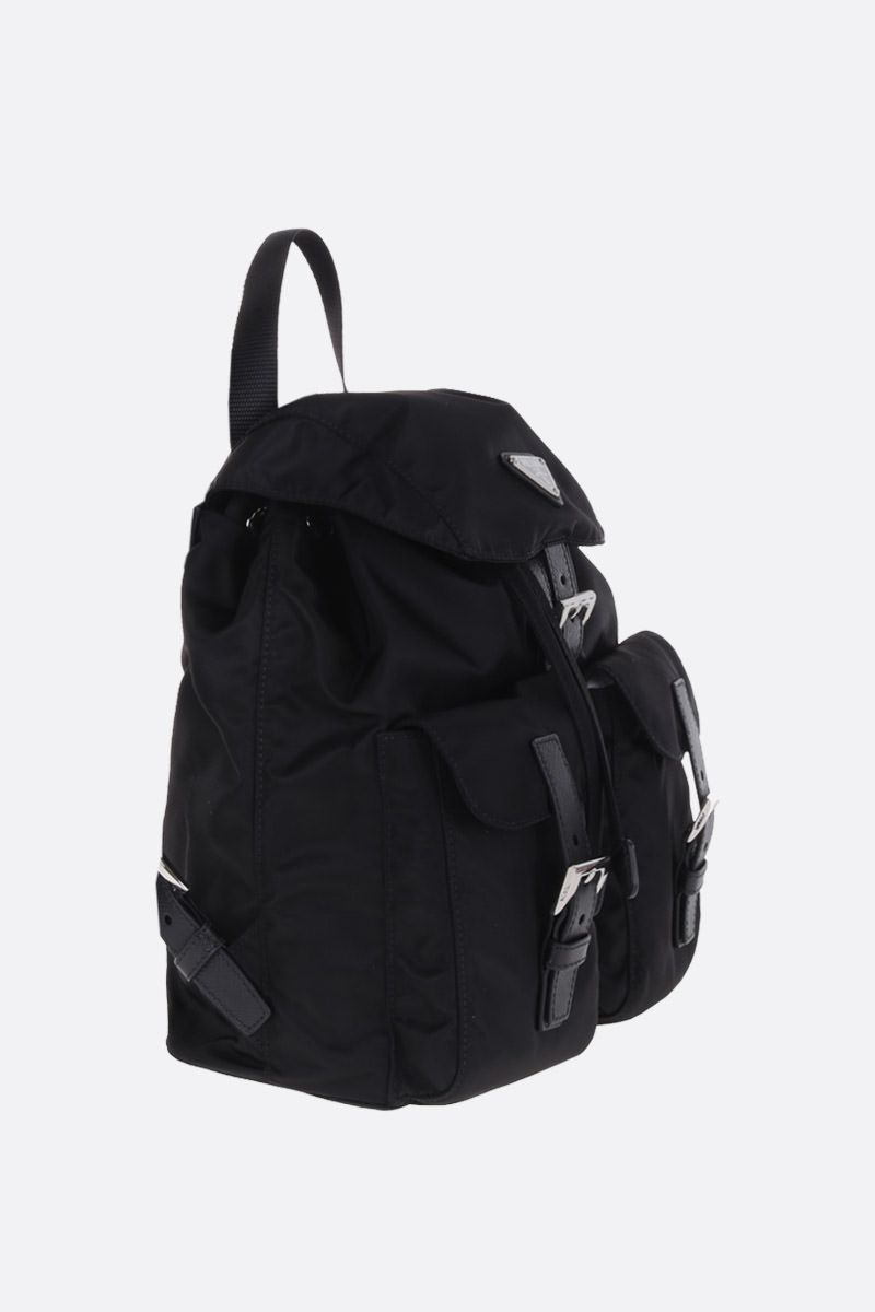 PRADA: Saffiano leather-detailed nylon backpack Color Black_2