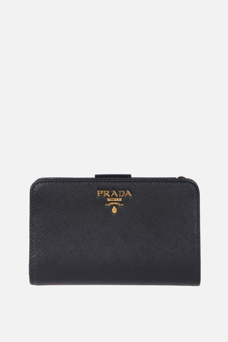 PRADA: Saffiano leather medium wallet Color Black_1
