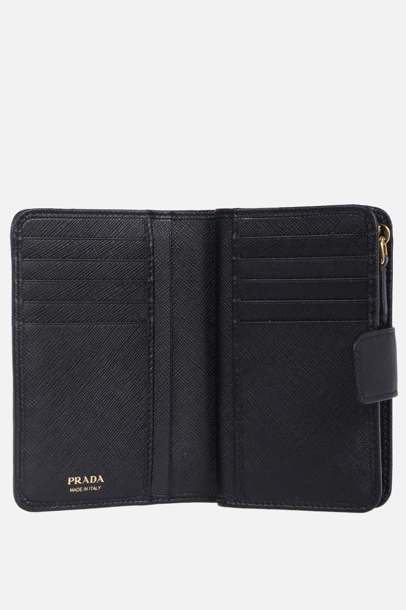 PRADA: Saffiano leather medium wallet Color Black_2