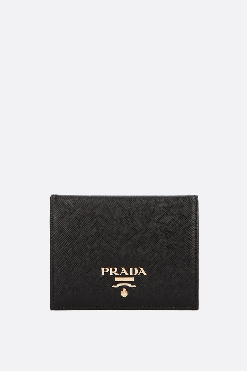 PRADA: Saffiano leather french wallet Color Black_1