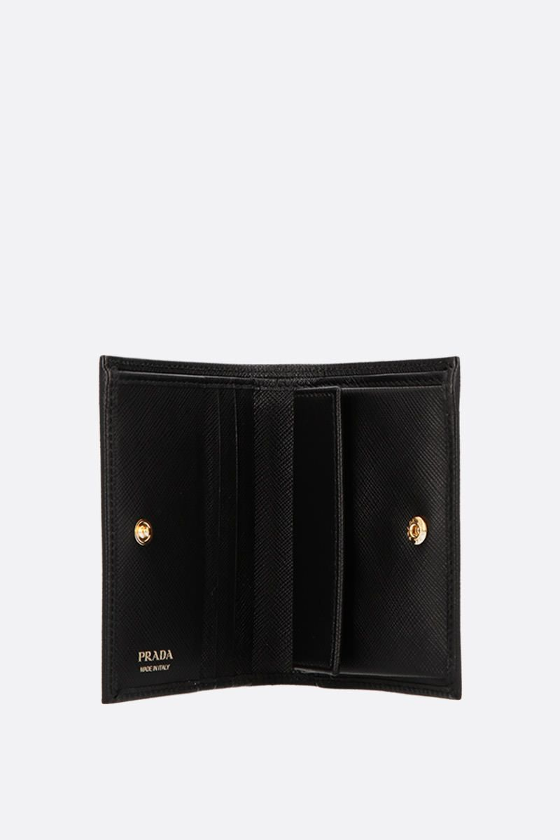 PRADA: Saffiano leather french wallet Color Black_2