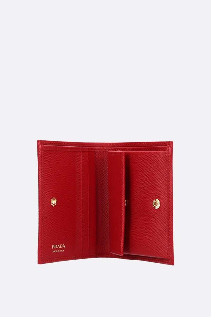 PRADA: Saffiano leather french wallet Color Red_2