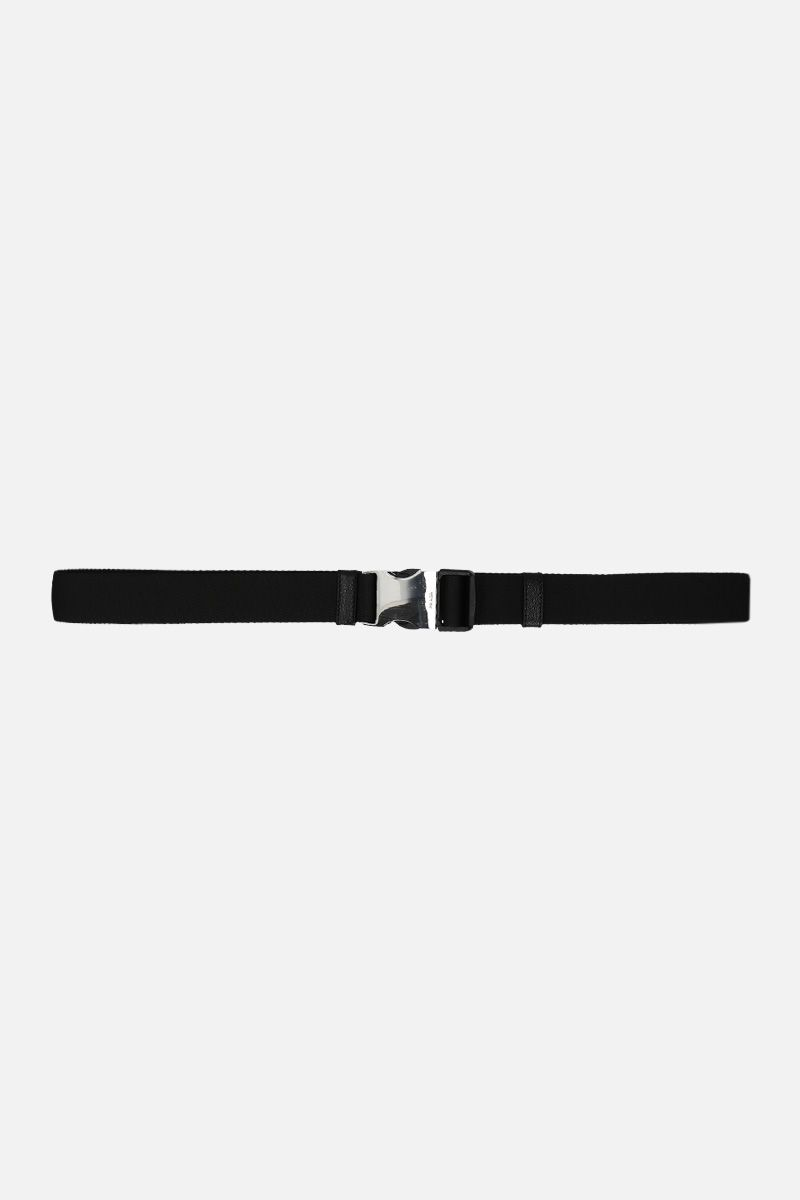 PRADA: logo buckle-detailed tech nylon belt Color Black_1
