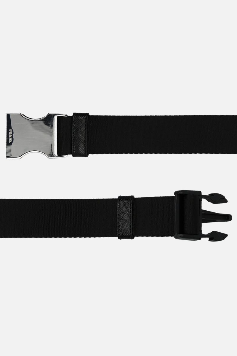 PRADA: logo buckle-detailed tech nylon belt Color Black_2