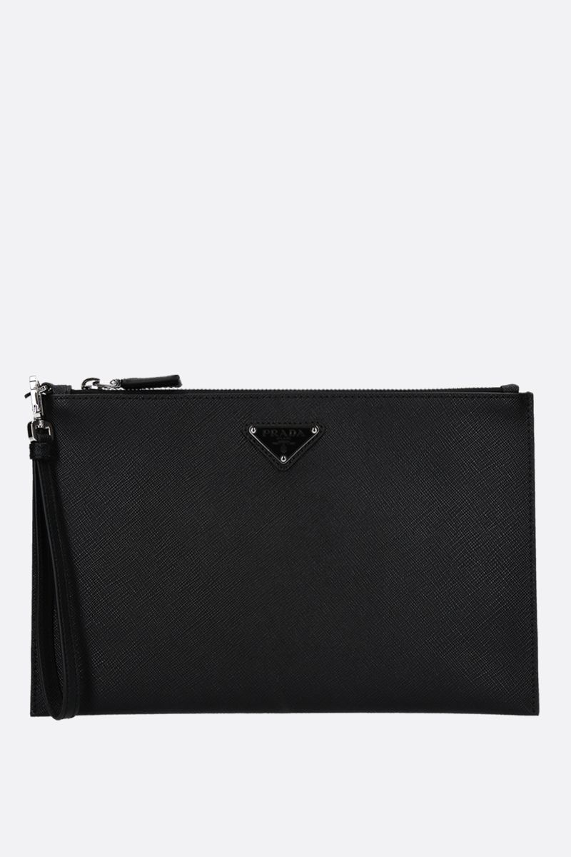 PRADA: Saffiano leather pouch Color Black_1