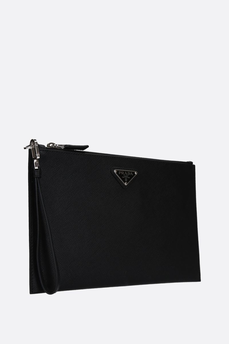 PRADA: Saffiano leather pouch Color Black_2