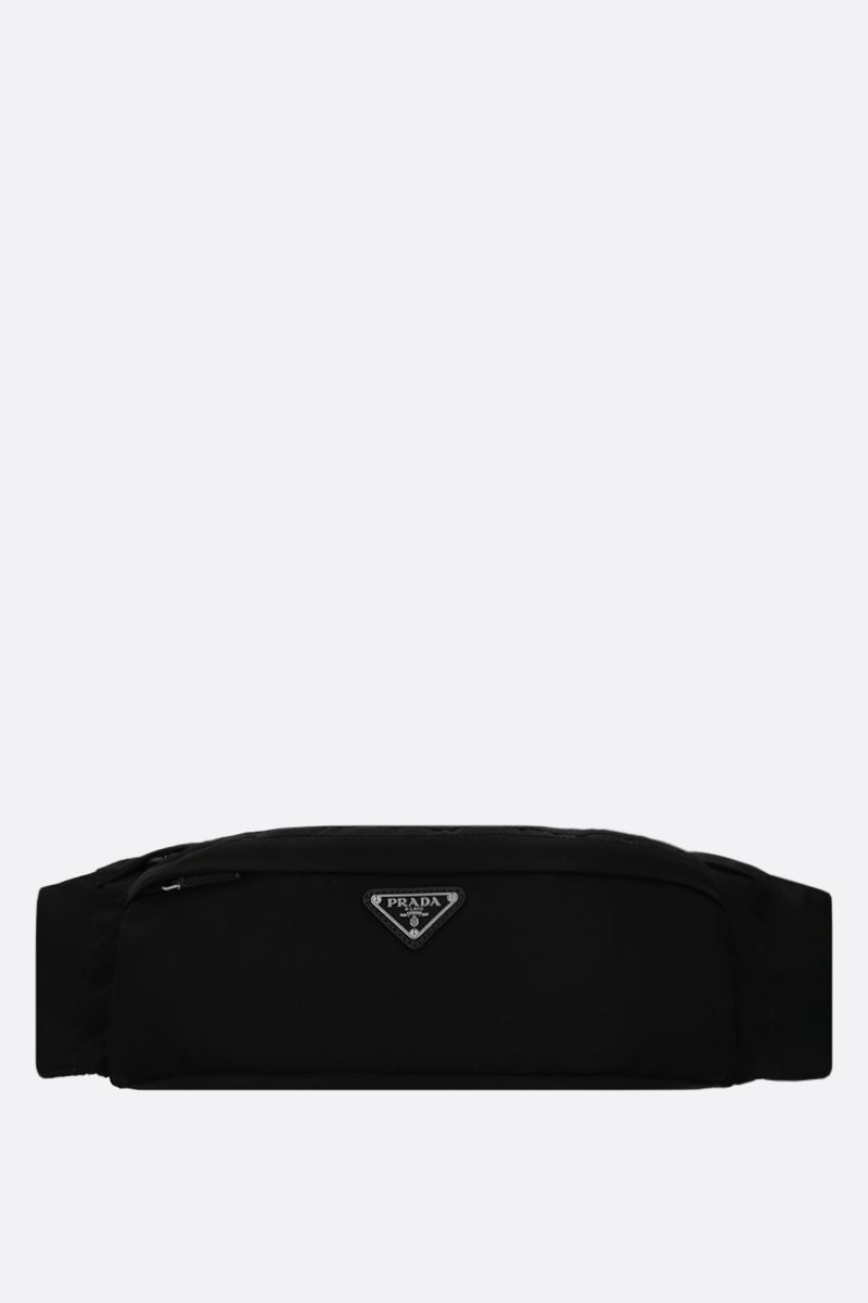 PRADA: Saffiano leather-detailed nylon belt bag Color Black_1