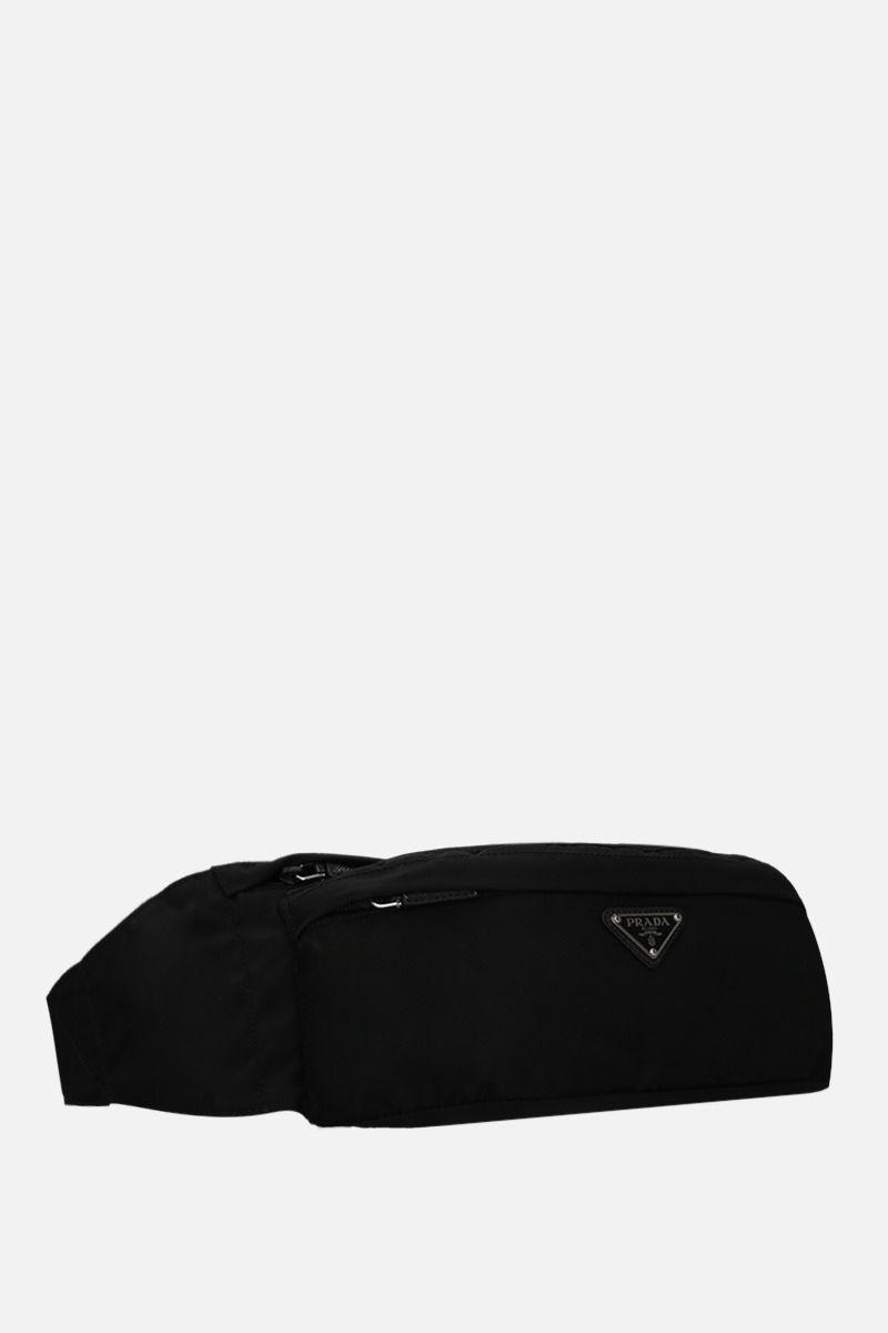 PRADA: Saffiano leather-detailed nylon belt bag Color Black_2