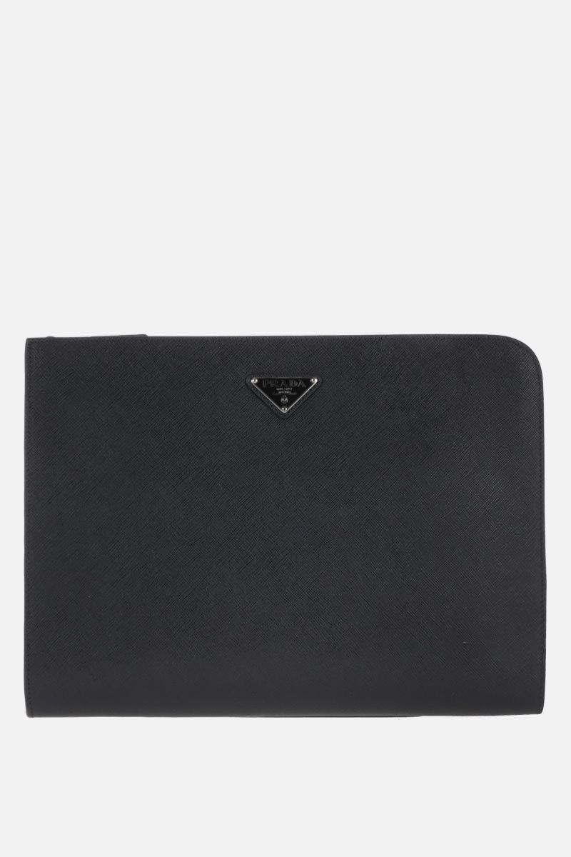 PRADA: Saffiano leather half-zip document holder Color Black_1
