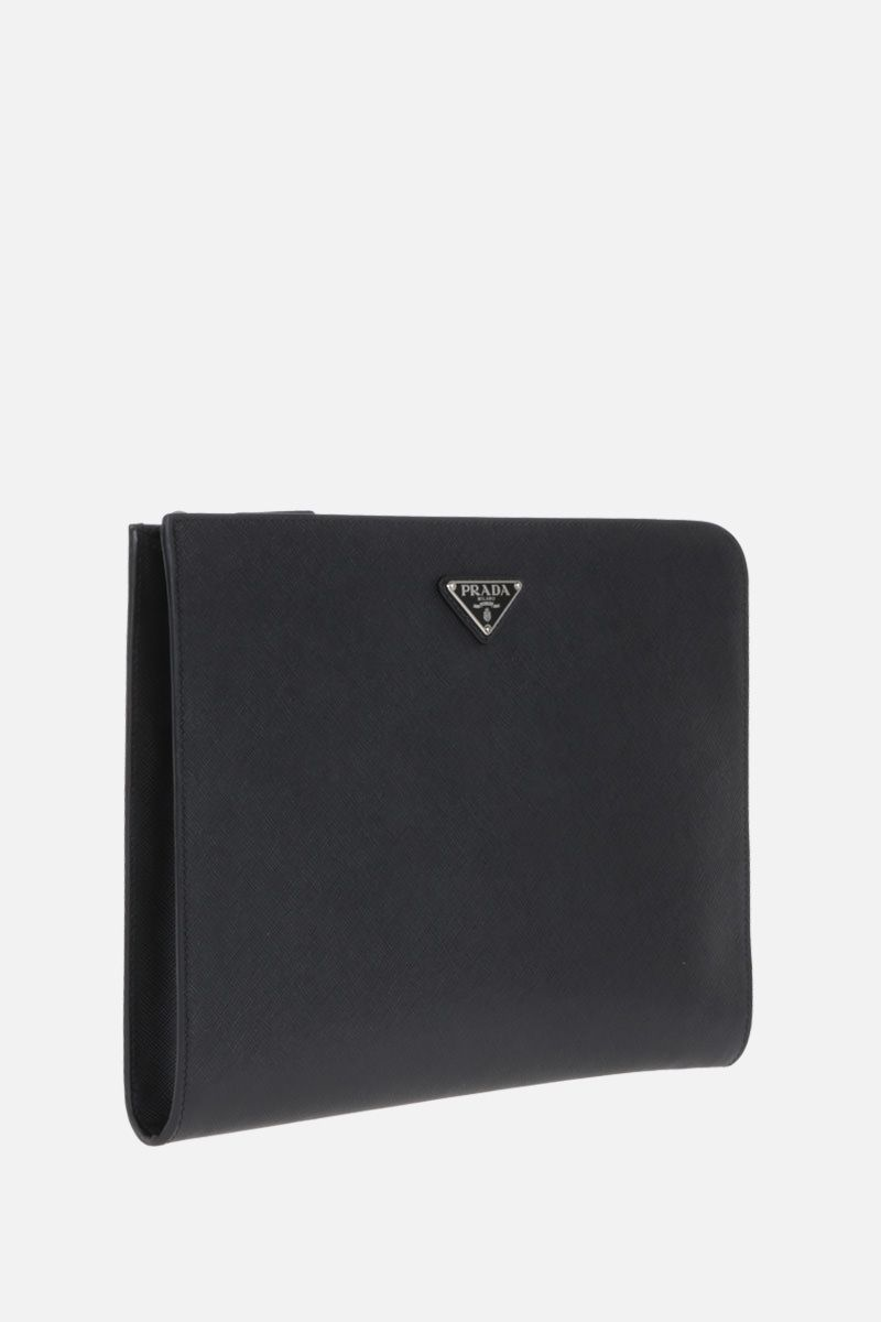 PRADA: Saffiano leather half-zip document holder Color Black_2