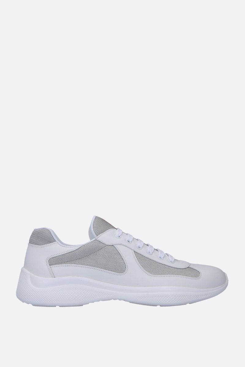 PRADA: smooth leather and mesh low-top sneakers Color White_1