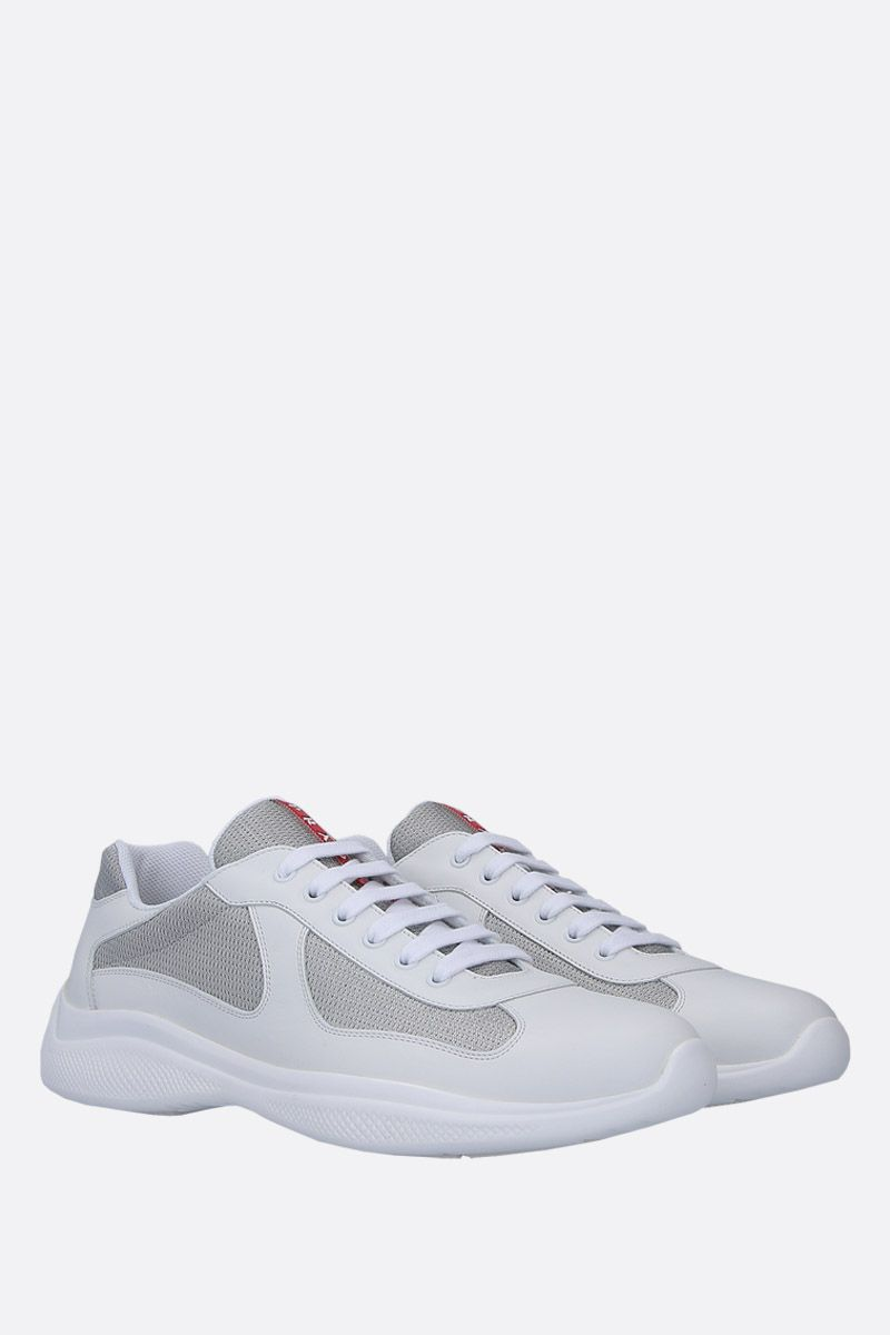 PRADA: smooth leather and mesh low-top sneakers Color White_2
