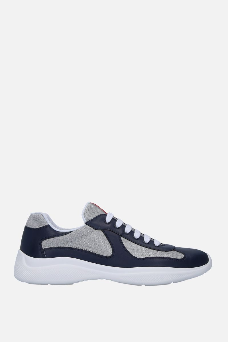 PRADA: smooth leather and mesh low-top sneakers Color Blue_1