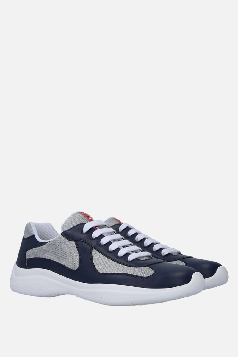 PRADA: smooth leather and mesh low-top sneakers Color Blue_2
