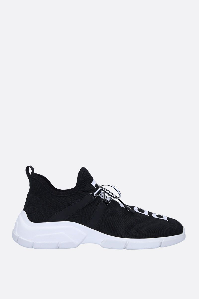 PRADA: XY stretch knit mid-top sneakers Color Black_1