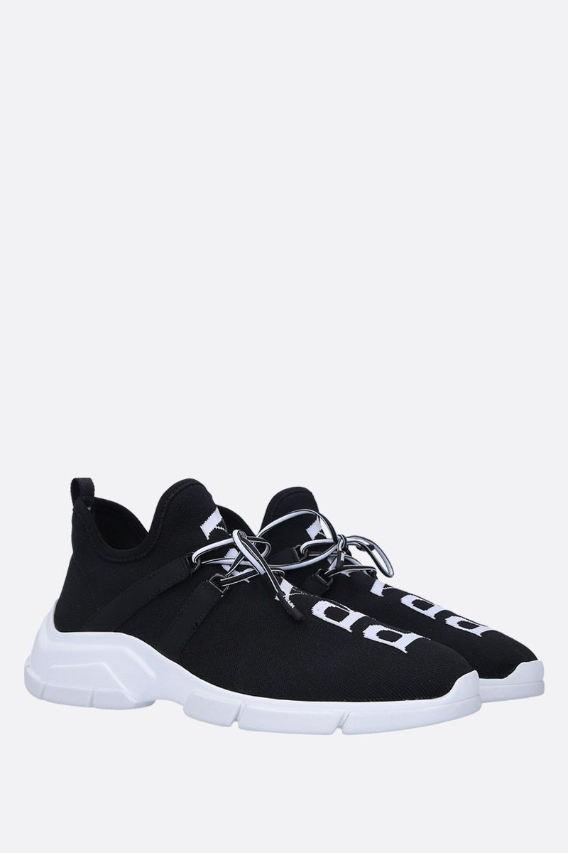 PRADA: XY stretch knit mid-top sneakers Color Black_2