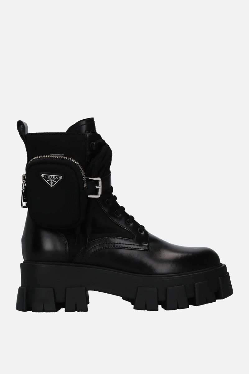 PRADA: rois brushed leather and nylon combat boots Color Black_1