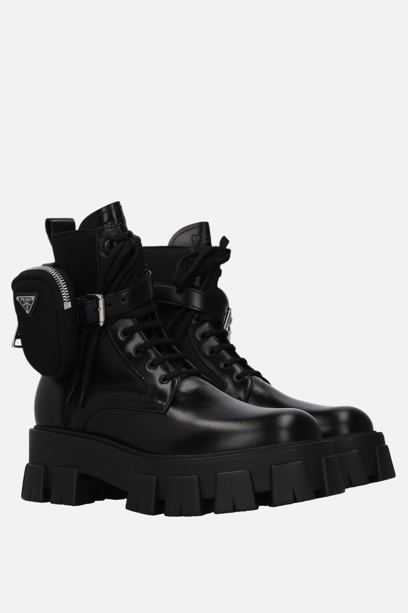 PRADA: rois brushed leather and nylon combat boots Color Black_2