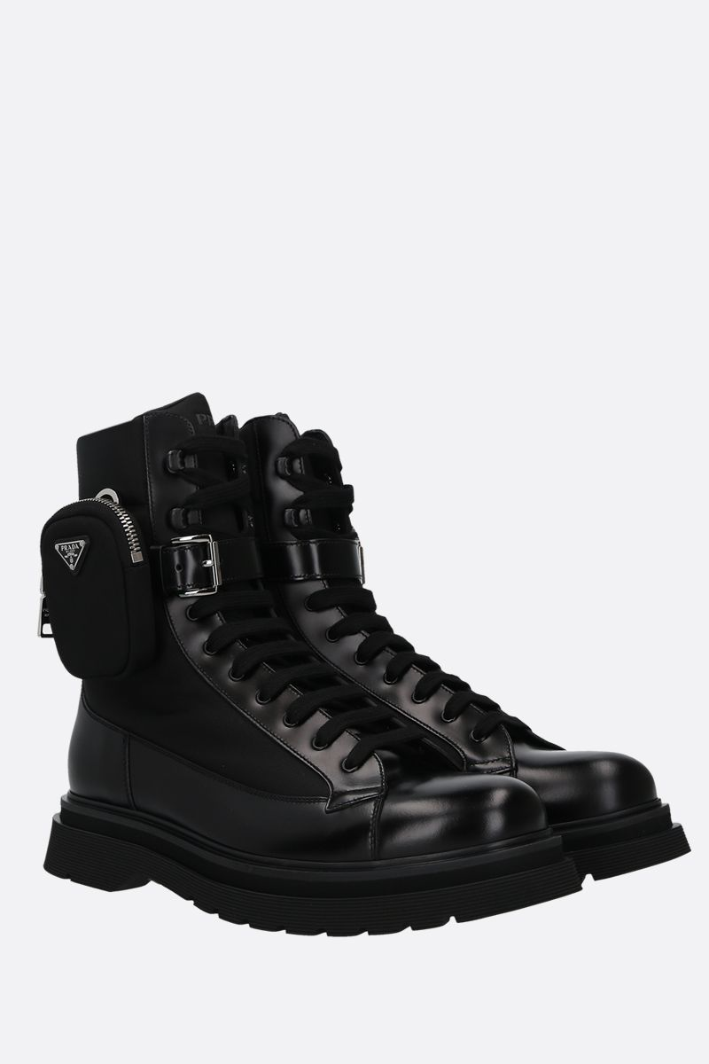 PRADA: brushed leather and nylon combat boots Color Black_2